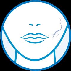 Icono piel sin hidratación y elasticidad